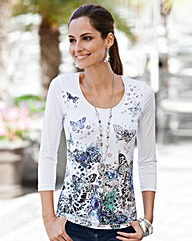 Together Butterfly Print Jersey Top