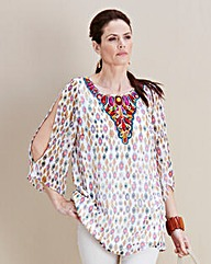 JOANNA HOPE Embellished Print Tunic