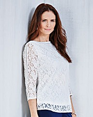 JOANNA HOPE Lace Jersey Top