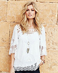 Joanna Hope Lace-Insert Blouse