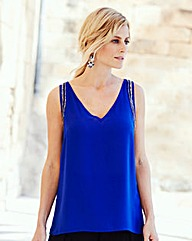 Joanna Hope Bead-Trim Sleeveless Blouse