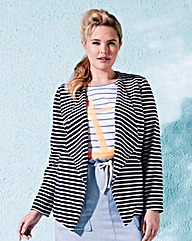 Stripe Waterfall Jersey Tailored Jacket