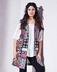 Folk Print Sleeveless Crepe Jacket