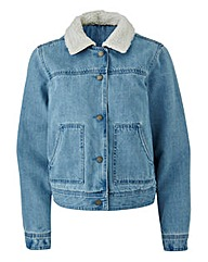 Denim Jakcet With Borg Collar