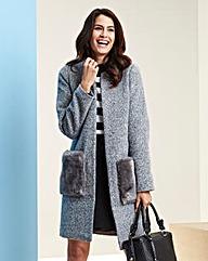 Collarless Faux Fur Pocket Coat