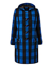 Cobalt Check Duffle Coat Length 37ins