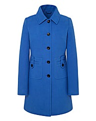 Wool Coat With Button Trim Detail