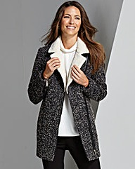 Tweed Faux Fur Collar Coat