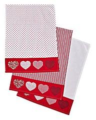 Red Folk Set of 3 Tea Towels