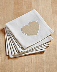 Country Hearts 100% Cotton Set 4 Napkins
