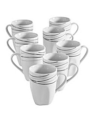 Monochrome Waves 8-Piece Mug Set