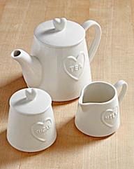 Country Hearts 3-Piece Tea Set