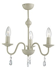 3 Light Chandelier Cream