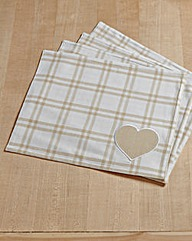 Country Hearts Cotton Set 4 Placemats