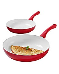 Set of 2 Ceramic Fry Pans Red