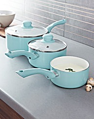 Set of 3 Ceramic Pans Soft Blue