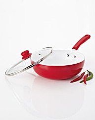 Ceramic Wok With Glass Lid Red