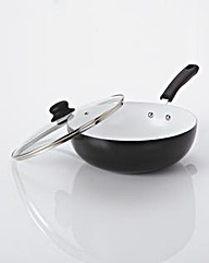 Ceramic Wok With Glass Lid Black