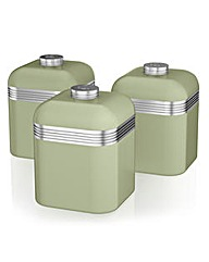 Swan Retro Set of 3 Canisters Green