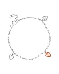 Simply Silver Two Tone Heart Bracelet