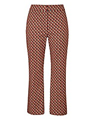 Print Cropped Flare Trousers