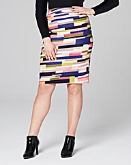 Stripe Cotton Sateen Pencil Skirt