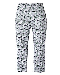 Palm Print Cotton Sateen Crop Trousers