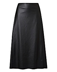 PU High Waisted Midi Skirt