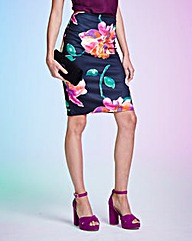 Floral Print Scuba Pencil Skirt
