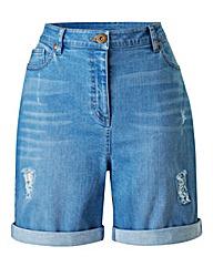 Boyfriend Ripped Denim Sequin Shorts