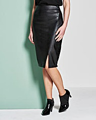 PU Mock Wrap Pencil Skirt