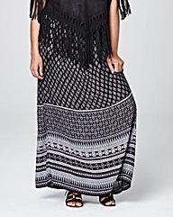 Border Print Maxi Skirt