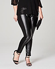 PU Front Zip Trim Ponte Treggings Reg