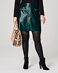 PU Zip Trim Pocket Mini Skirt