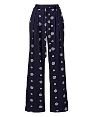 Print Tie Belt Wide Leg Trouser Regular