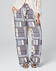 Print Tie Belt Wide Leg Trouser Short