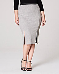 Double Split Jersey Midi Pencil Skirt