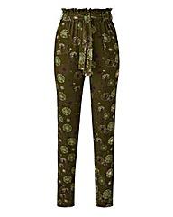 Print Tie Waist Jersey Harem Trouser