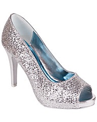 Perfect Silver Glitter Peep Toe