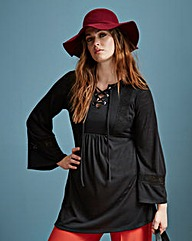 Simply Be Lace Up Jersey Tunic