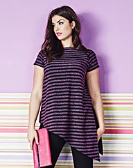 Simply Be Asymmetric T-Shirt Stripe