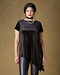 Simply Be Asymmetric Velour T-shirt