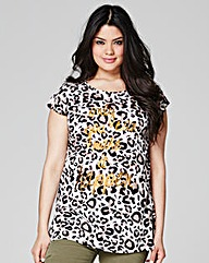 Animal Print Logo Print T-shirt