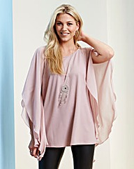 Blush Batwing Top With Chiffon Sleeve