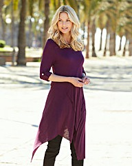 Damson Asymmetric Turn Back Cuff Top