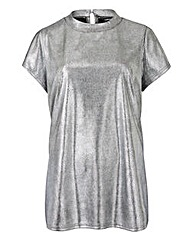 Silver Metallic Boxy Top