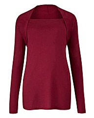 Berry Red Shawl Collar Top