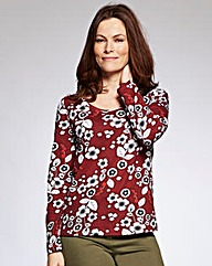 Red Floral Print Jersey Top