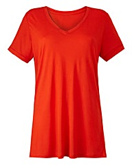 Orange V-neck Viscose T-shirt