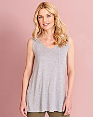 Grey Marl Pocket V Neck Jersey Vest